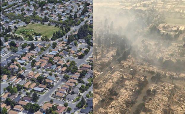 פארק בסנטה רוזה, לפני ואחרי השריפה (CNN)