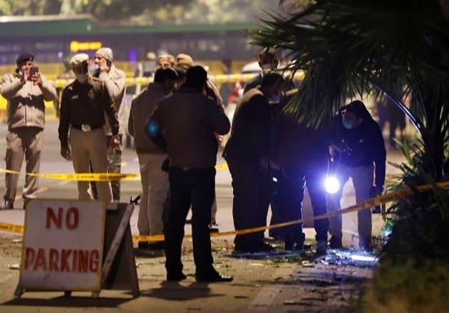 La scène de l'explosion près de l'ambassade à New Delhi, Inde